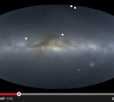 Timelapse van sterrenhemel met planeetontdekkingen